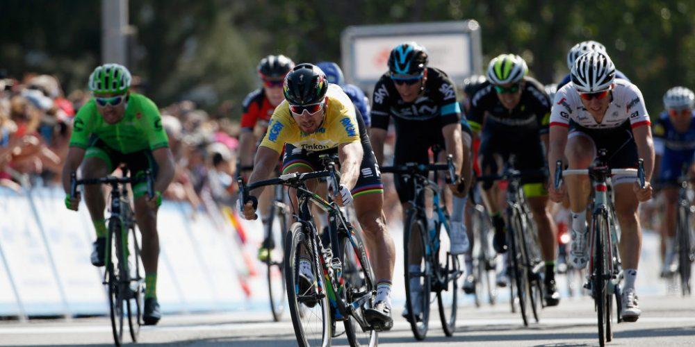 Il gruppo in fuga sopravvive nello stage 2 in California mentre Sagan sprinta per il quarto posto e cambia il colore della maglia da giallo a verde
